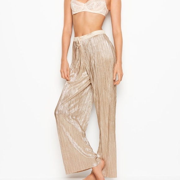 d3fa976b6dbe5 Victoria's Secret NWT Shine Pleat Pant Pajamas. M_5c0ee059c2e9fe10f4d79714